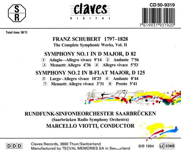 (1994) Schubert: The Complete Symphonic Works, Vol. II / CD 9319 - Claves Records