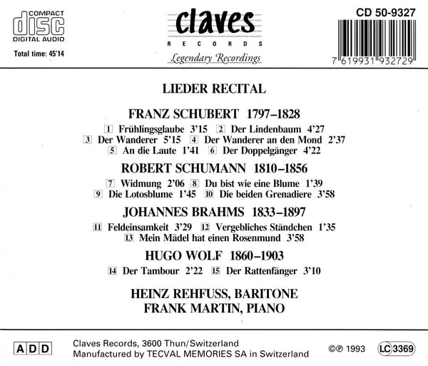(1993) Romantic Lieder Recital / CD 9327 - Claves Records