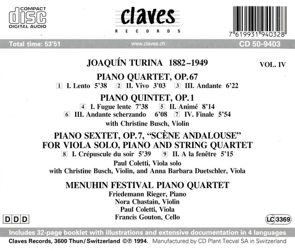 (1994) Joaquín Turina: Chamber Music, Vol. IV / CD 9403 - Claves Records