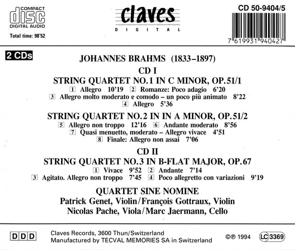 (1994) Brahms: Complete String Quartets - CD 9404-5 - Claves Records