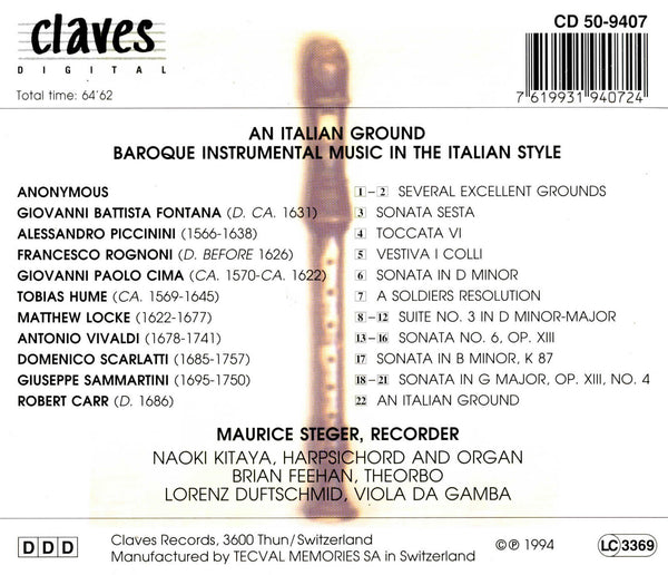 (1994) An Italian Ground: Baroque Instrumental Music in the Italian Style / CD 9407 - Claves Records