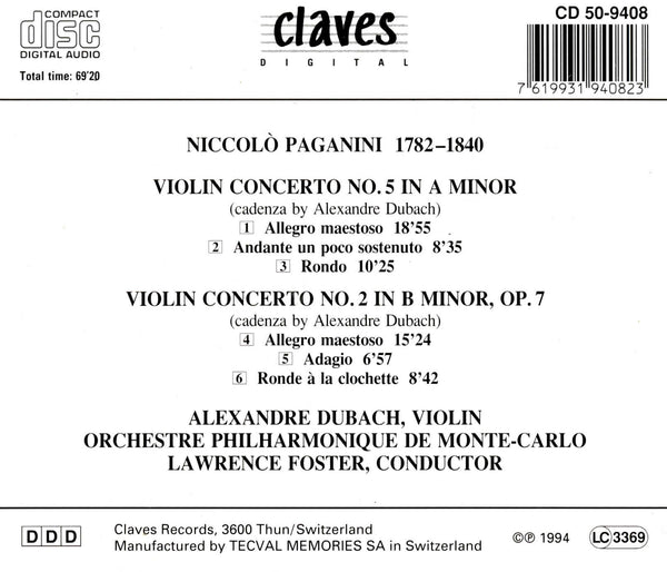 (1994) Niccolò Paganini: Violin Concertos Nos. 2 & 5 / CD 9408 - Claves Records