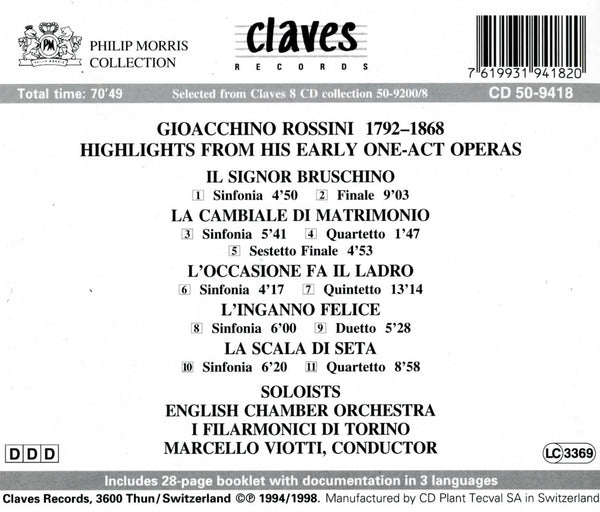 (1994) Rossini: Hoehepunkte Ein-Akt-Opern - CD 9418 - Claves Records