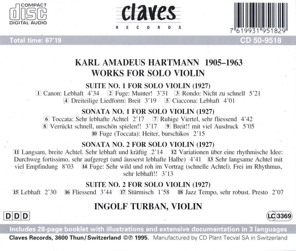 (1995) Hartmann: Works for Solo Violin / CD 9518 - Claves Records