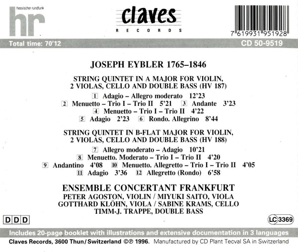 (1996) Joseph Eybler: String Quintets / CD 9519 - Claves Records