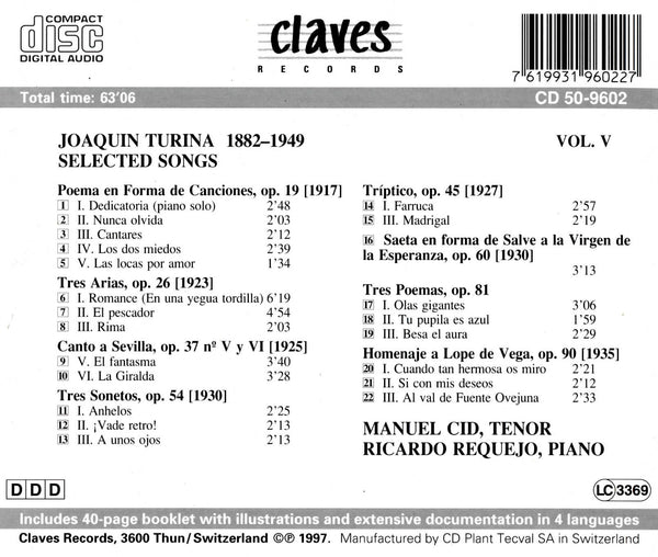 (1997) Joaquin Turina: Selected Songs for Tenor & Piano - CD 9602 - Claves Records