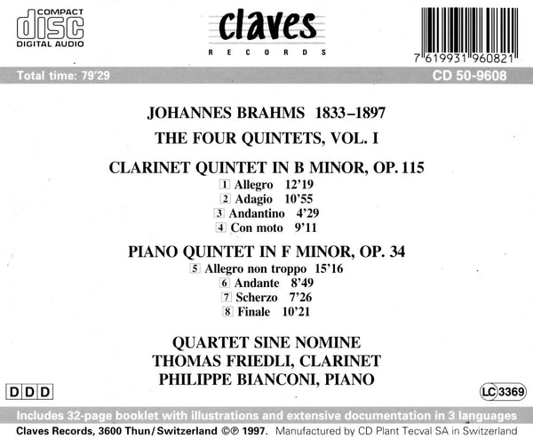 (1997) Brahms: Clarinet Quintet Op. 115 & Piano Quintet Op. 34 - CD 9608 - Claves Records