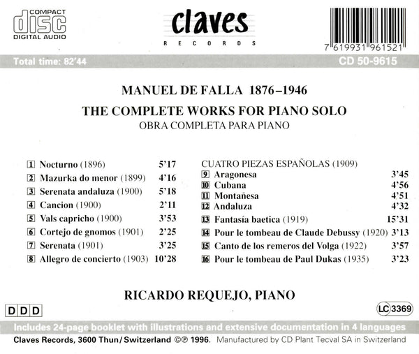 (1996) Falla: The Complete Works for Solo Piano / CD 9615 - Claves Records