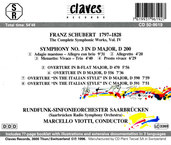 (1996) Schubert: The Complete Symphonic Works, Vol. IV - CD 9619 - Claves Records