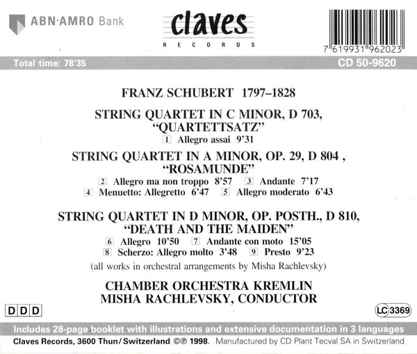 (1998) Schubert: String Quartets in String Orchestra Versions - CD 9620 - Claves Records