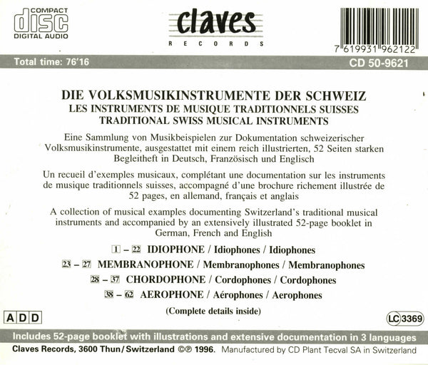 (1996) Traditional Swiss Musical Instruments - CD 9621 - Claves Records