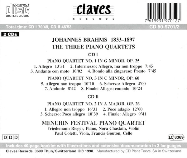 (1998) Brahms: The Three Piano Quartets - CD 9701-2 - Claves Records