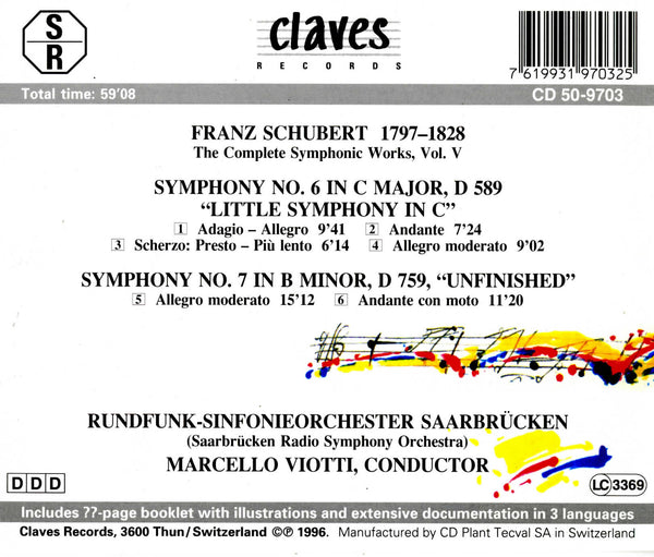 (1996) Schubert: The Complete Symphonic Works, Vol. V / CD 9703 - Claves Records