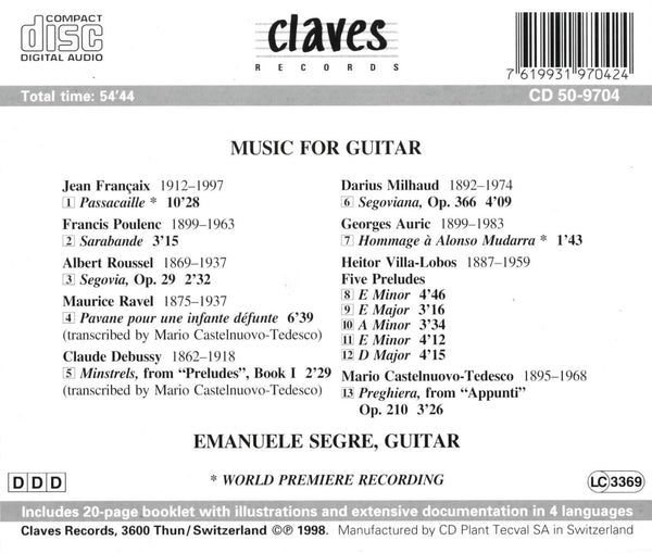 (1998) Music for Guitar / CD 9704 - Claves Records