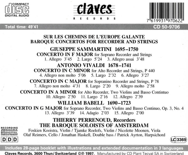 (1997) Baroque Concertos for Recorder and Strings - CD 9706 - Claves Records