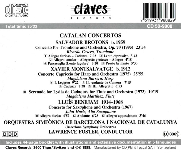 (1998) Catalan Concertos - CD 9808 - Claves Records