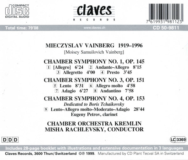 (1999) Mieczyslav Vainberg: Chamber Symphonies 1, 3, 4 - CD 9811 - Claves Records