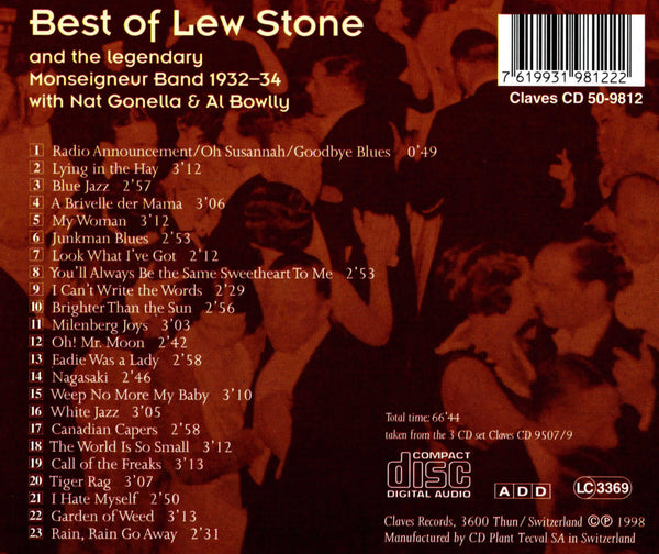 (1998) Best of Lew Stone & the Monseigneur Band, 1932-34 / CD 9812 - Claves Records