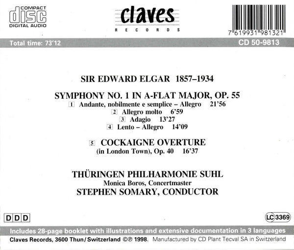 (1998) Sir Edward Elgar: Symphony No. 1, Op. 55 / Cockaigne Overture, Op. 40 - CD 9813 - Claves Records