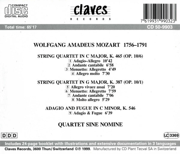 (1999) Wolfgang Amadeus Mozart: String Quartet, K. 387 / String Quartet, K. 465 / Adagio & Fugue, K. 546 / CD 9903 - Claves Records