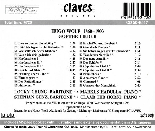 (1995) Hugo Wolf: Goethe Lieder / CD 9517 - Claves Records