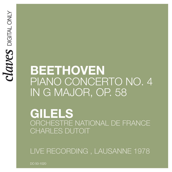 (2009) Beethoven: Piano Concerto No. 4 in G Major, Op. 58 (Live in Lausanne, 1978) / DO 1020 - Claves Records