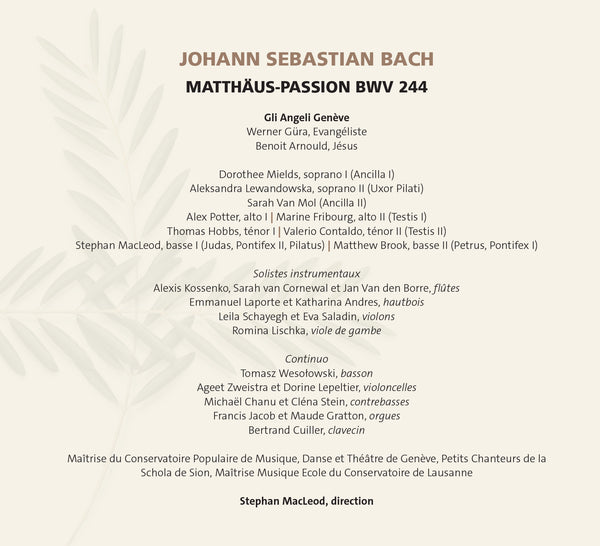 (2020) Bach: Matthäus-Passion / CD 3012/13 - Claves Records