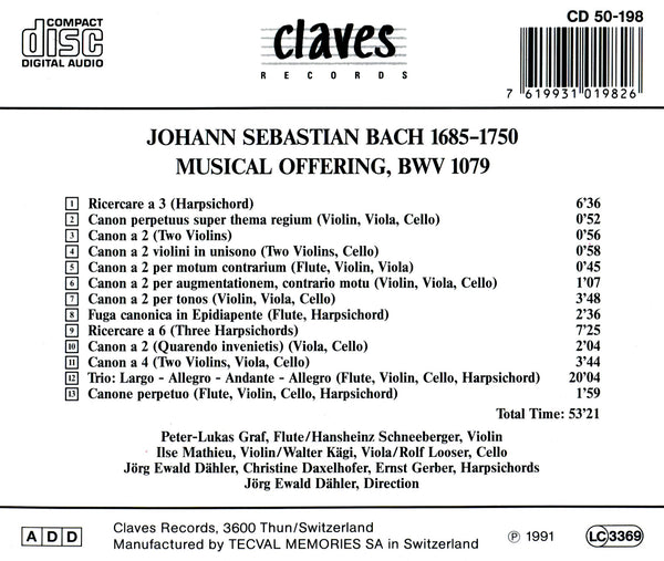 (1991) Bach: Musical Offering BWV 1079 / CD 0198 - Claves Records