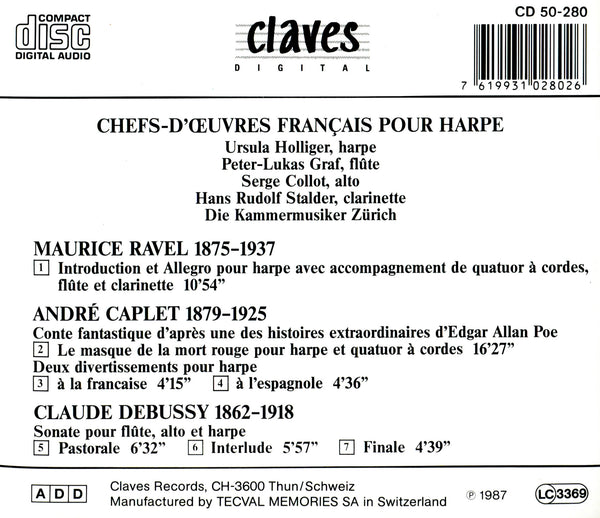 (1987) Ravel, Caplet & Debussy: Chamber Music for Harp / CD 0280 - Claves Records