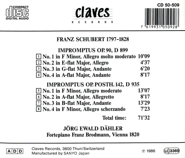 (1986) Schubert: Impromptus - CD 0509 - Claves Records