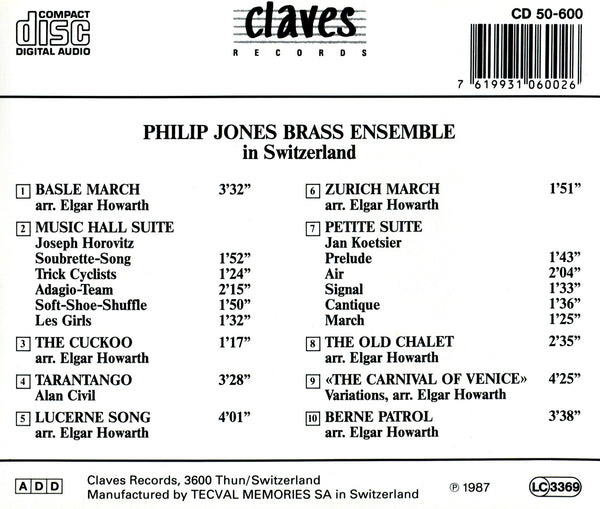 (1987) Philip Jones Brass Ensemble in Switzerland / CD 0600 - Claves Records