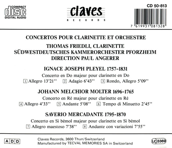 (1985) Classical Clarinet Concertos / CD 0813 - Claves Records