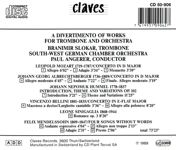 (1989) Works for Trombone & Orchestra / CD 0906 - Claves Records