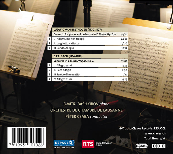 (2010) Beethoven: Piano Concerto in D Major, based on Op. 61 - C.P.E. Bach: Concerto in C Minor, Wq. 43, No. 4 / CD 1010 - Claves Records