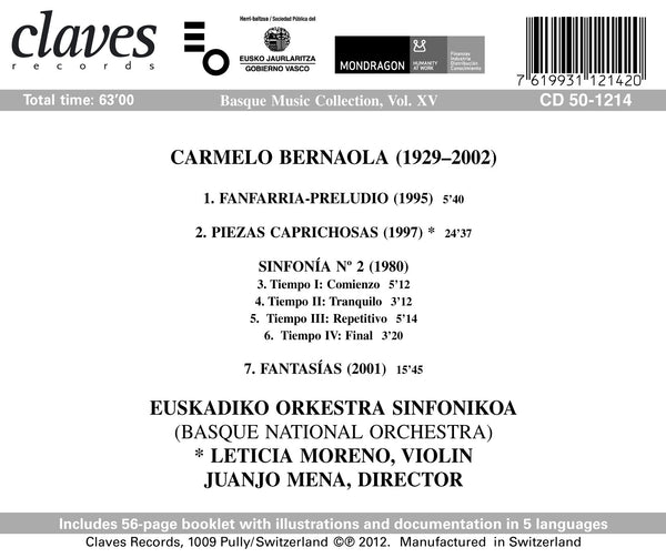 (2013) Basque Music Collection, Vol. XV / CD 1214 - Claves Records