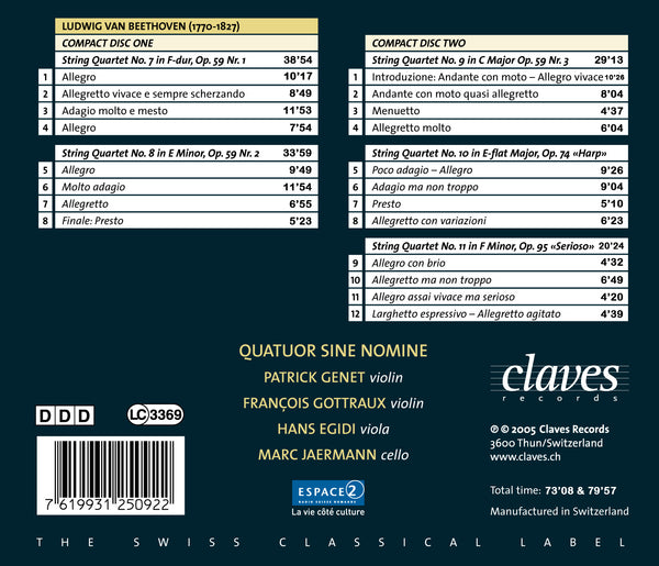 (2005) Beethoven: String Quartets Op. 59, Op. 74 & Op. 95 - CD 2509-10 - Claves Records