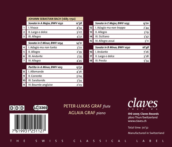 (2005) J. S. Bach: Six Flute Sonatas BWV 1032, 1034, 1013, 1035 & 1030 / CD 2511 - Claves Records