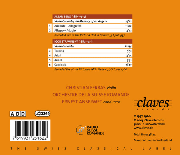 (2005) Berg & Stravinsky: Violin Concertos - CD 2516 - Claves Records