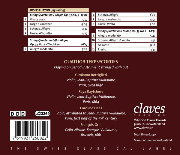 (2006) Haydn: Three String Quartets from Op. 33 - CD 2608 - Claves Records
