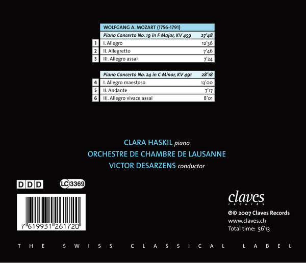 (2007) Mozart: Piano Concertos K. 459 & K. 491 - CD 2617 - Claves Records