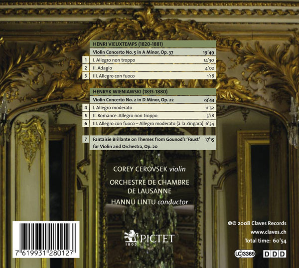 (2008) Vieuxtemps: Violin Concerto No. 5, Op. 37 - Wieniawski: Violin Concerto No. 2, Op. 22 - CD 2801 - Claves Records