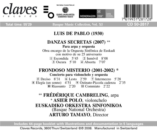 (2008) L. de Pablo: Danzas Secretas - Frondoso Misterio / CD 2817 - Claves Records