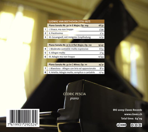 (2009) Beethoven: Three Last Piano Sonatas Op. 109, 110 & 111 - CD 2903 - Claves Records