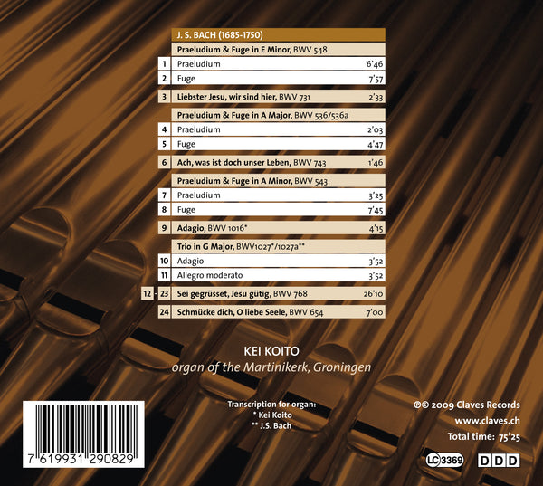 (2009) J.S. Bach: Organ Masterworks, Vol. I / CD 2908 - Claves Records