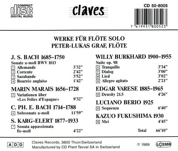 (1989) Music for Solo Flute - CD 8005 - Claves Records