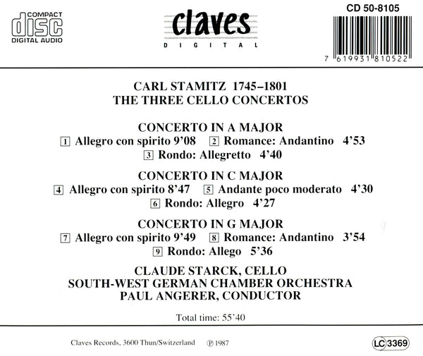 (2000) Carl Stamitz: The Three Cello Concertos / CD 8105 - Claves Records