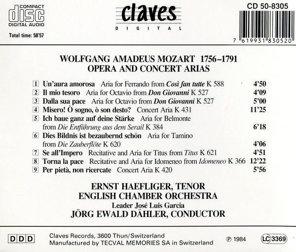 (1984) Wolfgang Amadeus Mozart: Opera & Concert Arias / CD 8305 - Claves Records