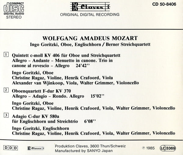(1985) Mozart: Quintet K. 406 - Oboe Quartet K. 370 - Adagio K. 580a - CD 8406 - Claves Records