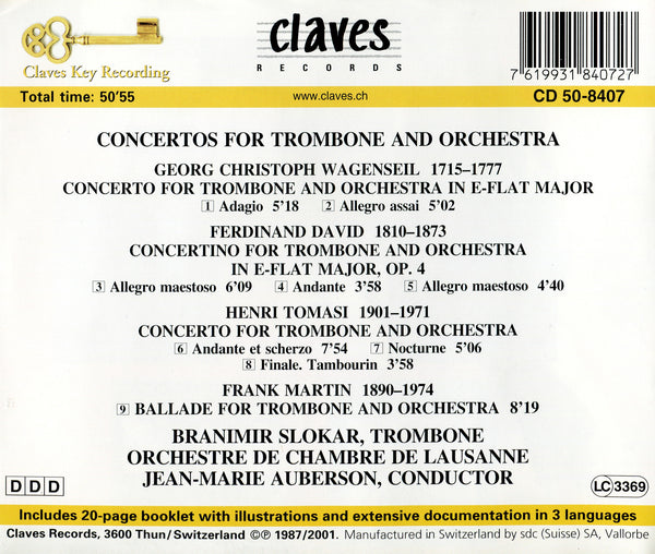 (1987) Concertos For Trombone & Orchestra / CD 8407 - Claves Records