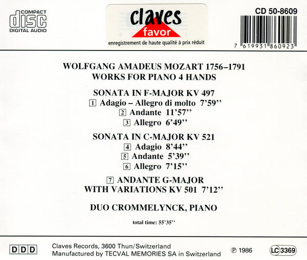 (1986) Mozart: Sonatas K. 497 & K. 521 - Andante with Variations, K. 501 for Piano 4 Hands / CLF 8609-9 - Claves Records